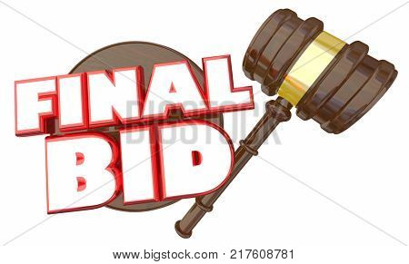 Final Bid Auction Gavel Winning Price Bidder 3d Illustration