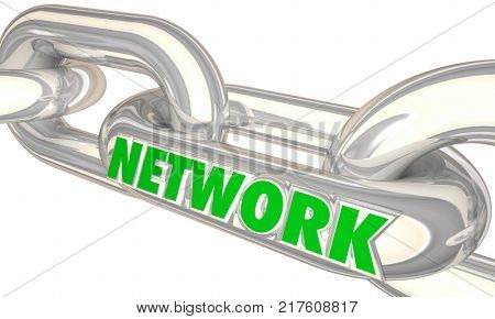 Network Chain Links Connections Connected Together Word 3d Illustration