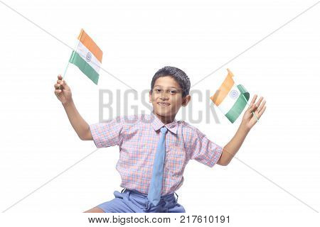 happy indian child portrait  with indian flag