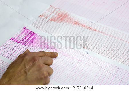 Seismological activity lines on the sheet of measuring paper. Seismological device for measuring earthquakes. Earthquake wave on graph paper. Human finger showing a detail of the earthquake.