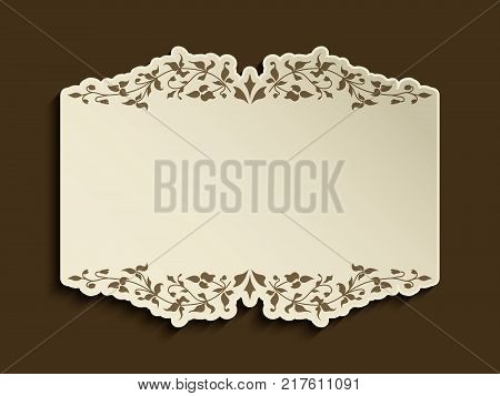 Vintage gold frame with flourish decoration and cutout paper border, vector announcement or invitation card design