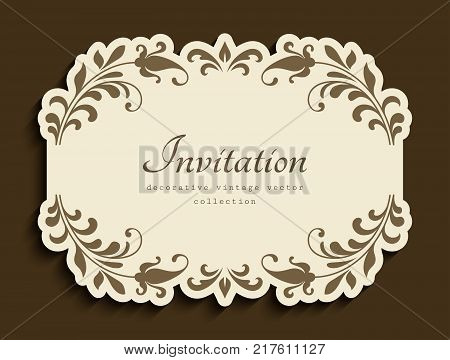 Vintage vignette with floral decoration and cutout paper border, vector embellishment, wedding announcement or invitation card design, suitable for carved paper manufacturing