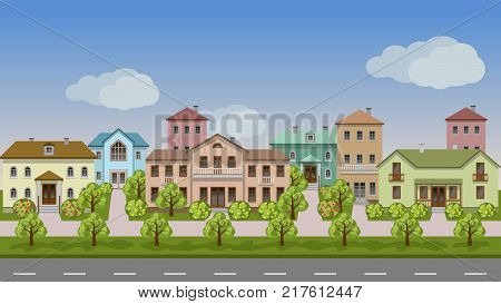 Vector urban landscape. Set of town houses along city street sidewalks summer or spring trees and bushes in blossom. Seamless background for cartoon or game asset. Vector illustration