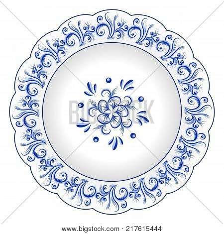 Decorative porcelain plate ornate with blue floral ornament pattern in traditional Russian style Gzhel with vintage  sc 1 st  Bigstock & Decorative Porcelain Plate Ornate Vector \u0026 Photo | Bigstock