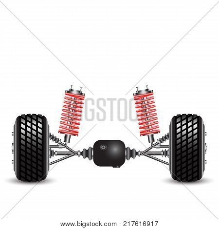 Rear suspension of the car springs and differential.