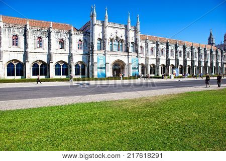 LISBON PORTUGAL - SEPTEMBER 13 . 2017 . The landmark Mosteiro dos Jeronimos in the Belem district in Lisbon Portugal