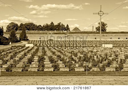 Old fort in Terezin Czech Republic. In nowadays this is a part of memorial monument for the Jewish ghetto which Terezin was during the WWII. poster