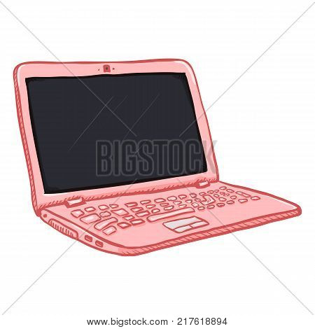 Vector Single Pink Cartoon Laptop PC on White Background