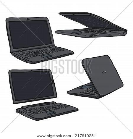 Vector Set of Cartoon Gray Laptops PC on White Background