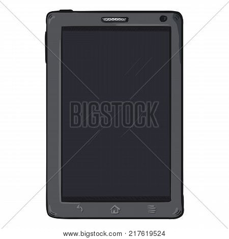 Vector Cartoon Gray Tablet PC on White Background