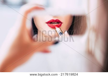 red lipstick makeup seductive sensual provocative sexy woman lips concept poster
