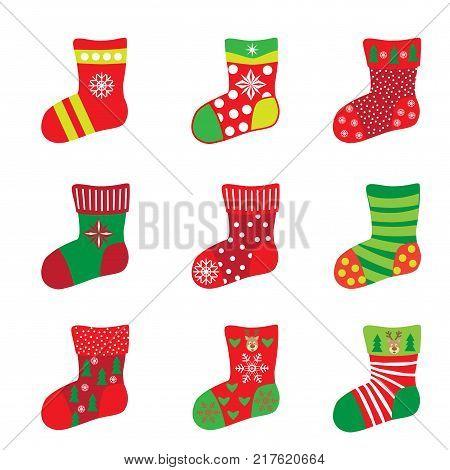 Christmas socks for Happy New Year and Christmas Winter Holiday. Socks icons set, with snowflakes, santa, reindeer, snowman, christmas balls, fir tree, stars, gift, symbol, decorative ornament vector,