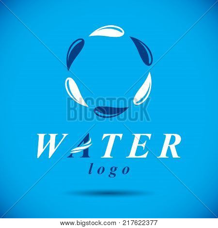 Pure water vector abstract symbol for use in mineral water advertising. Environment protection concept.