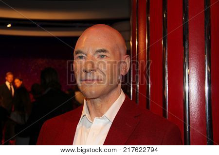London, - United Kingdom, 08, July 2014. Madame Tussauds in London. Waxwork statue of Patrick Stewart