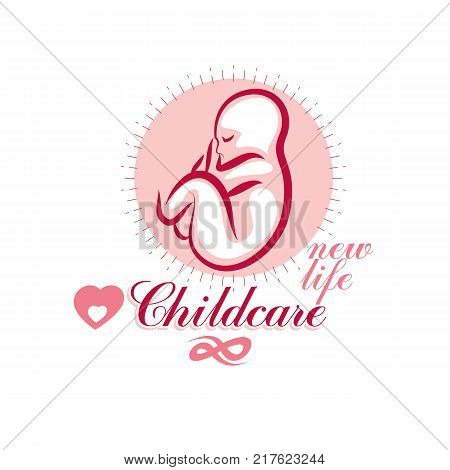 Vector hand-drawn illustration of pregnant elegant woman expecting baby sketch. Obstetrics and gynecology clinic advertising banner