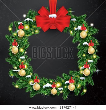 Christmas Wreath with Green Fir Branch, Light Garland and Red Bow on Chalkboard Background.