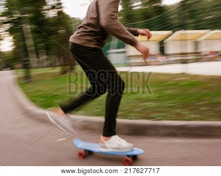 skater boy. Modern youth lifestyle skateboarding subculture. Speed blur concept