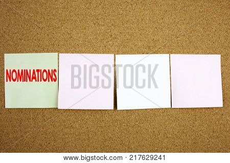 Conceptual hand writing text caption inspiration showing Nominations Business concept for Election Nominate Nomination on the colourful Sticky Note close-up background with space