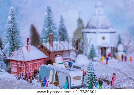 people enjoying christmas night at vintage time taken at stanley miniature ton