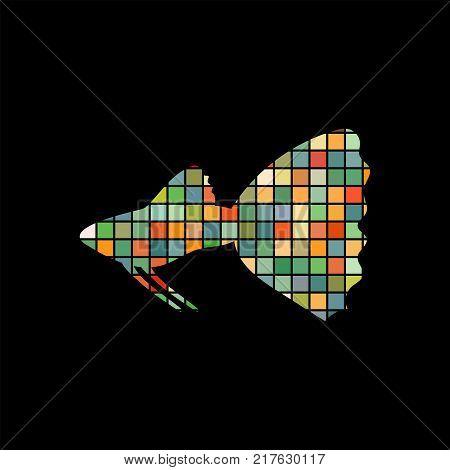 Guppy fish mosaic color silhouette aquatic animal background black. Vector Illustrator