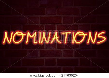 Nominations neon sign on brick wall background. Fluorescent Neon tube Sign on brickwork Business concept for Election Nominate Nomination 3D rendered Front View