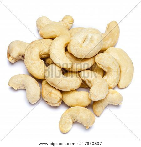 Roasted organic cashew nuts isolated on white background. Clipping path