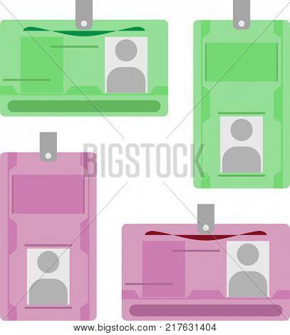 Photo Id Card, Identity Card Raster Illustration