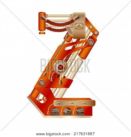 The letter Z of the Latin alphabet, made in the form of a mechanism with moving and stationary parts on a steam, hydraulic or pneumatic draft. Isolated freely editable object on white background.