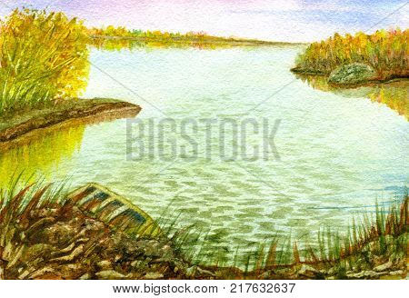 Autumn landscape: a quiet lake, a forest on the horizon, a boat on the shore. Hand-painted watercolor illustration and paper texture
