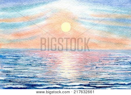 Seascape, sunset at sea, cloudy sky and reflection in the water. Hand-painted watercolor illustration and paper texture