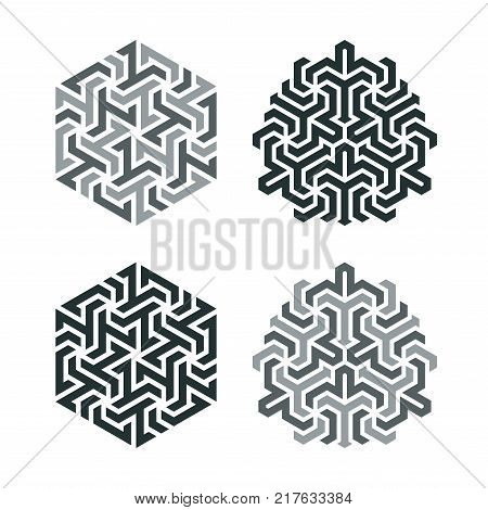 Design tattoo in the style of geometric tessellation. Element of a geometric pattern based on a hexagonal grid