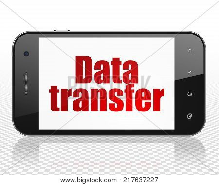 Data concept: Smartphone with red text Data Transfer on display, 3D rendering