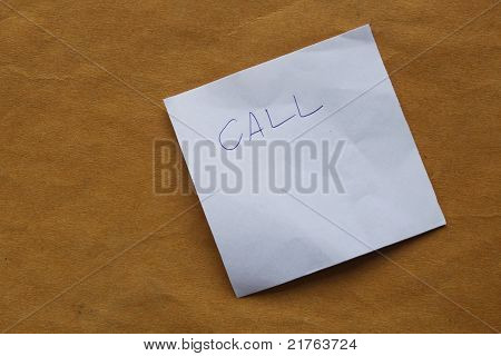 .call Note Hand written On Post It