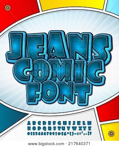Blue denim font on comic book page. Alphabet in style of comics, pop art. Cartoon jeans multilayer letters and figures for decoration of kids' illustrations, game design, comics, banners