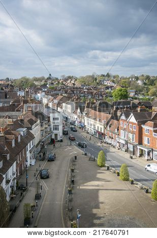BATTLE, EAST SUSSEX, UK, 13TH APRIL 2017 - Aerial view of Battle High Street Battle Sussex England UK