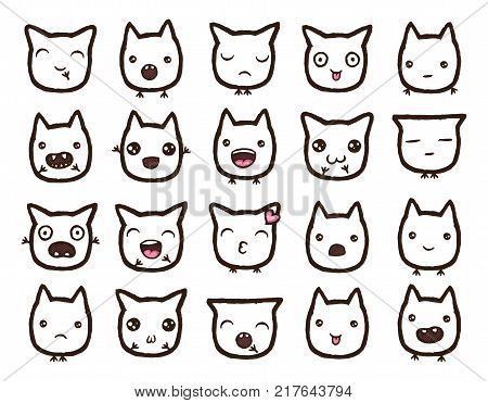 Hand drawn vector emoticons collection. Isolated emoticons on white background.