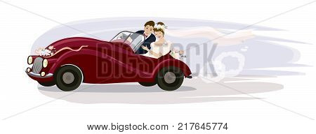 Vector illustration. Newlyweds riding in a wedding retro car
