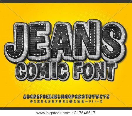 Black denim font on yellow background. Alphabet in style of comics, pop art. Cartoon jeans multilayer letters and figures for decoration of kids' illustrations, game design, comics, banners