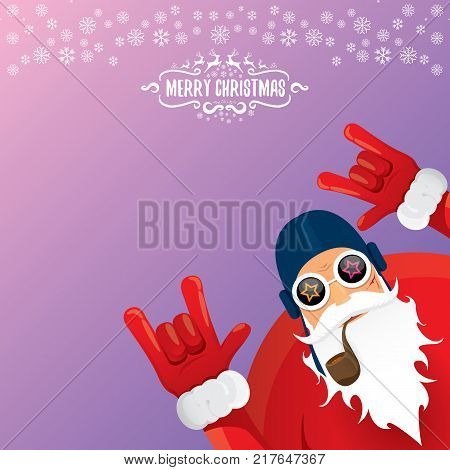 vector DJ rock n roll santa claus with smoking pipe, santa beard and funky santa hat isolated on violetred christmas square background with snowflakes. Christmas hipster party poster with snowflakes.