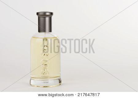 Brnenec ,Czech Republic-December 5,2017: Bottle of EDT for men Hugo Boss Boss Botled on white background.