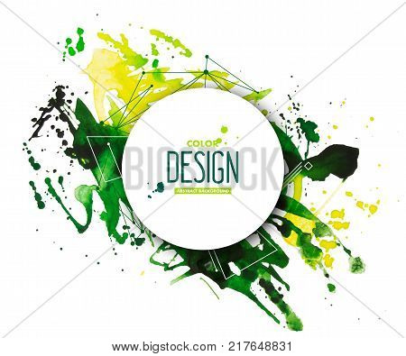 Yellow-green abstract aquarelle background with geometric pattern and place for text. Hand drawn watercolor stains, splashes and drops on white. Template for covers, flyers, banners, posters, placards