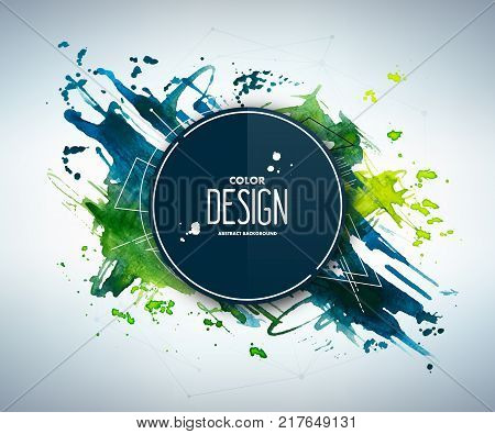 Blue-green abstract aquarelle background with geometric pattern and place for text. Hand drawn watercolor stains, splashes and drops. Template for covers, flyers, banners, posters, placards