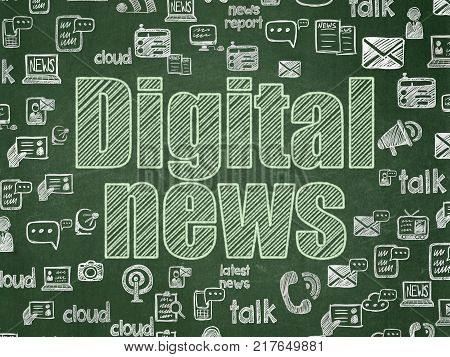 News concept: Chalk Green text Digital News on School board background with  Hand Drawn News Icons, School Board