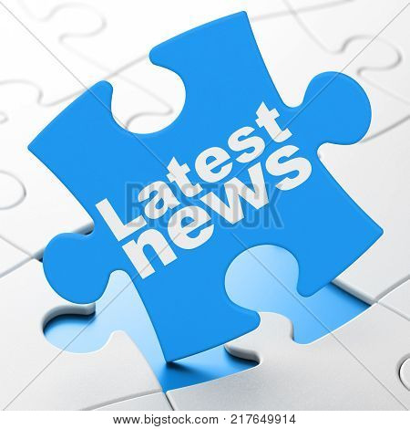 News concept: Latest News on Blue puzzle pieces background, 3D rendering