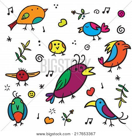 Exotic warblers and song bird with colorful plumage on a white background vector illustration. Beautiful birds with colored feathers vector art
