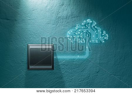 Cloud computing concept - connect devices to cloud. Cloud symbol with printed circuit board (PCB) design representing cloud computing and wall switch which turn on cloud computing connection.