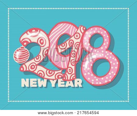 Holiday pattern with color hand lettering 2018 and Happy New Year blue bckground with snow and stars vector image. Colorful celebration pattern for New Year and Christmas holiday