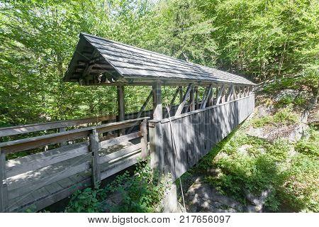 Sentinel Pine Covered Bridge in Franconia Notch State Park NH.