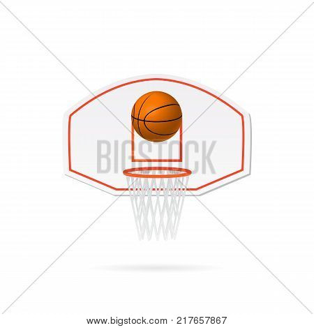Illustration of a basketball hoop basketball and backboard isolated on a white background.