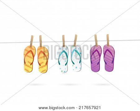 Illustration of flip flops hanging on a line isolated on a white background.